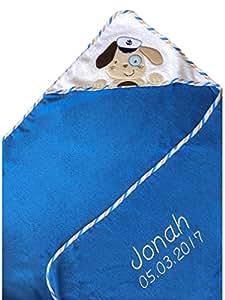 Kapuzenhandtuch bestickt mit Name und Geburtsdatum / 100x100 cm / kuschelig weich / 1A Qualität (Blau - HUND als SEEMANN)