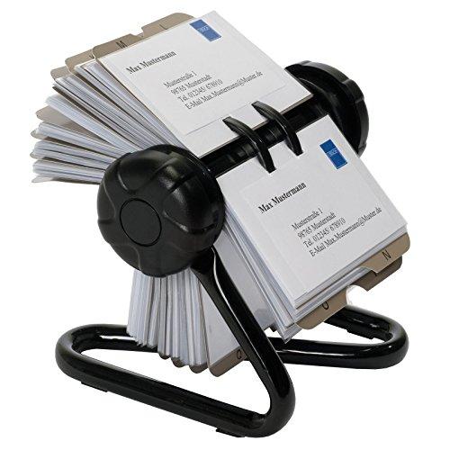 Oxid7 Visitenkartenkarussell für Visitenkarten - Rotationskartei passend für 400 Visitenkarten - inkl. 24-teiligem A-Z Register - mit Metallständer, schwarz