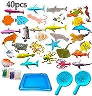 BESTZY 40pcs Animales de Juguete Mini Figuras Marinos Plástico Fauna Submarina Realista para Jugar en el Baño
