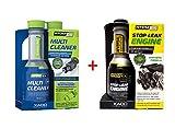 XADO Öl-Verlust-Stop & Benzin Kraftstoff-System-Reiniger - Stop Leak Engine & MultiCleaner - Atomex 2er Set