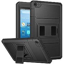 MoKo Nuevo Amazon Fire HD 8 2017 Funda - Shockproof Híbrido Resistente Smart Cover Case Para Choque con Protector de la Pantalla Incorporado para All-New Fire HD 8, Negro