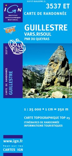 Top25 3537ET ~ Guillestre, Vars, Risoul carte de randonnée avec une règle graduée gratuite