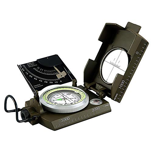 Lixada Militärischer wasserdichter Metalloptischer Lensatic-Visierkompass im Freien mit Tasche -