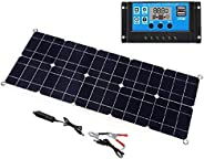 KKmoon Solar Panel Dual USB Output Monocrystalline Solar Panel IP65 Water-resistant with 10A Solar Charge Cont