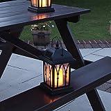 schwarze Solar Laterne mit LED Kerze und täuschend echt wirkenden Flacker-Effekt, von Festive Lights - 6