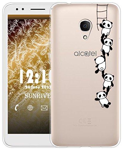 Sunrive Für Alcatel 1X Hülle Silikon, Transparent Handyhülle Schutzhülle Etui Case für Alcatel 1X 5059D(TPU Panda 1)+Gratis Universal Eingabestift
