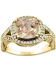 14ct blanco/oro amarillo Natural colgantes 8 x 8 mm anillo de Split cojín de diamante acento 1,27 cm de ancho, de tallas J - T