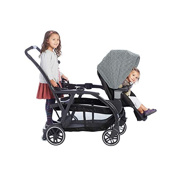 Graco Modes Duo Tandem Pushchair, Shift Graco 27 riding options for 2 children from infant to toddler; click connect attaches with all graco snug ride/essentials infant car seats. suitable from birth to 13kg (approx. 3 years) Two removable, multi-position reclining seats can be positioned rear or forward facing; the built-in bench seat gives your big kid a place to rest; both front and rear seats hold up to 15kgs One-hand standing fold, folds with seats on or off; locking front swivel wheels for superior manoeuvrability; one-step brakes make stopping, and going again, quick and easy 8