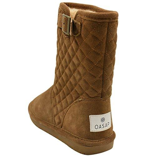 Oasap Femme Sandals Talons Compensés Couleur Pure Plage Plate-forme Khaki-3