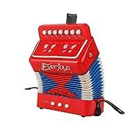 Kids Accordion Set Music Creation Pro EVERJOYS Educational Musical Instrument (Red)
