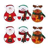 Deggodech 6 Stück Weihnachten Bestecktasche Taschen Besteckhalter Weihnachtsmann Rentier Schneemann Weihnachtsdeko Tischdeko Besteck Weihnachtsbesteckhalter für Weihnachten Party Tischdekoration