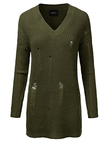 Doublju Oversized Cable Knit Longline Distressed Sweater Dress For Women OLIVE SMALL (Knit Distressed)