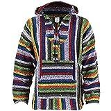 Siesta mexikanischer Baja Jerga Kapuzenpullover Hippie Pullover - Vibrant Stripe Gr. L, Vibrant Stripe