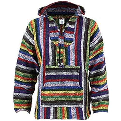 Siesta Streifen (Siesta Mexikanisch Baja Jerga Mit kapuze Hippie Pulli - Leuchtend streifen - Baumwolle, Leuchtend streifen, \n50% baumwolle 50% acryl\nwashing, Damen, Medium)