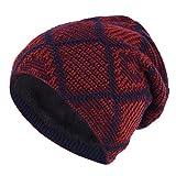 WooFinder Strickmütze Jersey Slouch Beanie Winter Mütze Warme Skimütze mit Teddyfleece Innenfutter, Unisex Herren Damen