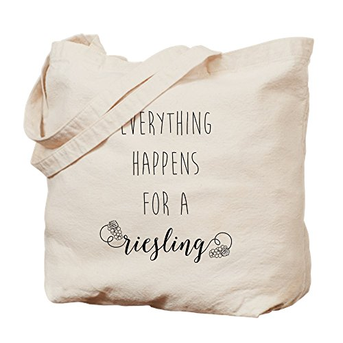 CafePress Everything Happens for A Riesling Tragetasche, canvas, khaki, S