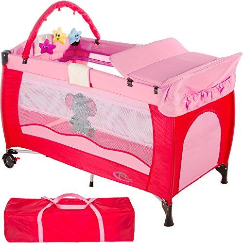 TecTake Kinder Reisebett höhenverstellbar mit Babyeinlage pink