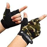 Dorical Handschuhe Herren Antiskid Radfahren Bike Gym Fitness Sport Halbe Fingerhandschuhe Outdoor Halber Finger Handschuhe Radfahren Klettern Ausbildung Handschuhe(Tarnen,Large)