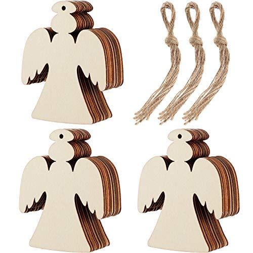 Tatuo 30 Stück Holz Engel Form Ausschnitte Handwerk Blank Holz Hängende Ornamente mit 3 Rollen Bindfäden für Weihnachtsbaum Dekoration