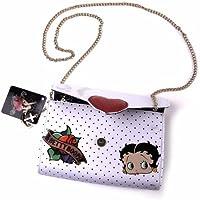 Betty Boop bolsa de embrague:blanco con corazón rojo