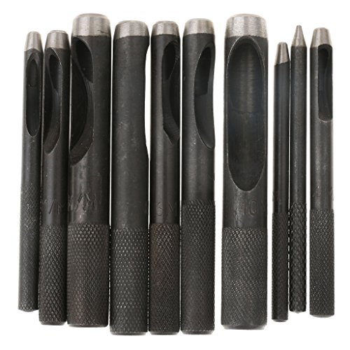 Magideal Punch Leather Tool Hole Craft Set Hollow Puncher Belt Stitching Punches