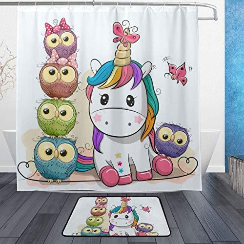 AdaCrazy Lindo Dibujo Animado Unicornio Búhos Rama
