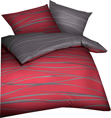 """Kaeppel Wende- Bettwäsche \""""Motion\"""" Mako-Satin rubinrot Größe 135x200 cm (80x80 cm)"""