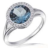 Goldmaid Damen-Ring 375 Weißgold 30 Diamanten 0,12 ct. 1 Londontopas Gr. 58 Fa R5788WG58 Verlobungsring  Diamantring