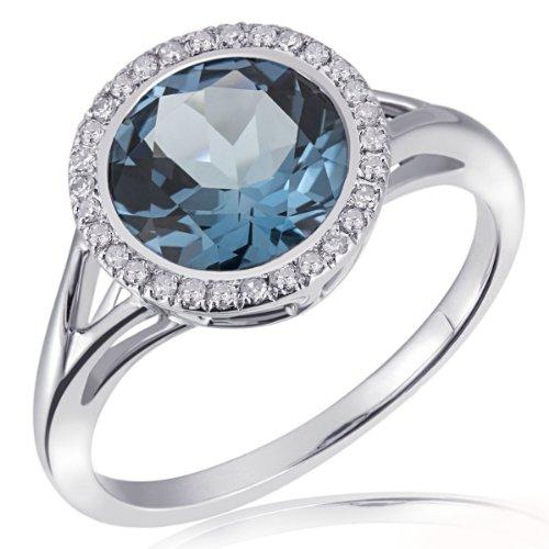 Goldmaid Damen-Ring 375 Weißgold 30 Diamanten 0,12 ct. 1 Londontopas Gr. 54 Fa R5788WG54 Verlobungsring  Diamantring