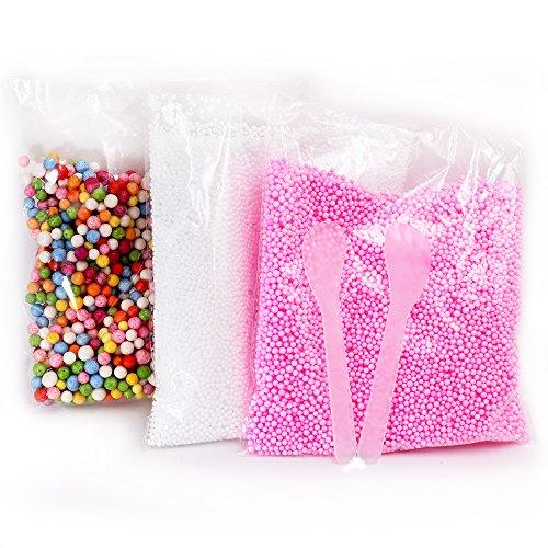 Foam Beads für DIY und Slime Supplies - 2 Pack Mini Styropor Bälle (Pink, Weiß) + Große gemischte bunte Schaum Bälle + 2 Pack Mixing Löffel für hausgemachte Slime, Kid's - Party-spiele Halloween Für Hausgemachte