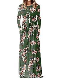 Robe Femme Chic de Soiree Convient pour l automne Bohême Col V Manches  Longues Cheville-Longueur… 715d647df49