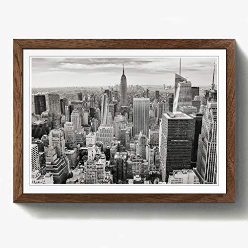 Manhattan-walnuss (BIG Box Art Manhattan New York City Skyline USA 2,5cm Print mit schwarzem Rahmen, Mehrfarbig, A2, 24,5x 18_ P, Holz, walnuss, 24.5 x 18-Inch)