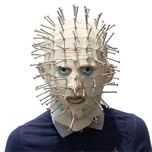 (Wagsiyi Erwachsene Maske Terrorist Ghost Maske Halloween Kreative Kopfbedeckung Nagel Maske Kopfbedeckungen furchterregende Maske)