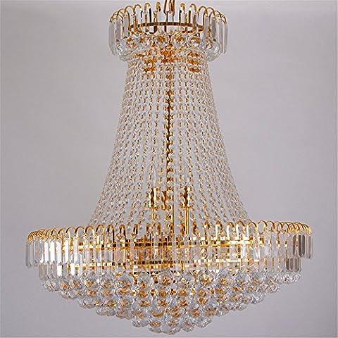 Luxe Royal Empire Golden Europen cristal lustre grand contemporain éclairage français style hôtel lobby Design, diamètre 600 mm × hauteur 700 Noël Thanksgiving cadeau d'anniversaire de mariage