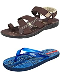 Earton Men Combo Pack of 2 Sandals & Floaters with Slippers