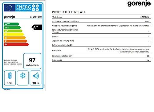 Gorenje RI 5092 AW Einbaukühlschrank / A++ / 87.5 cm Höhe / 0.27 kWh / 150 L Kühlteil / Abtau-Vollautomatik / Festtürtechnik / weiß -