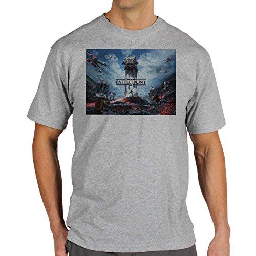 Star Wars Battlefront Jedai Yedi Game Cover Background Herren T-Shirt Grau