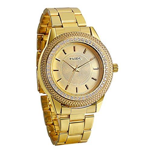 Avaner Reloj Dorado de Esfera Dorada Oro Dial con Diamantes de Imitación Brillantes, Grande...
