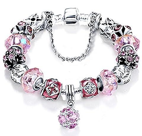 SaySure - Antique Silver Original Women Glass Charm Bracelet