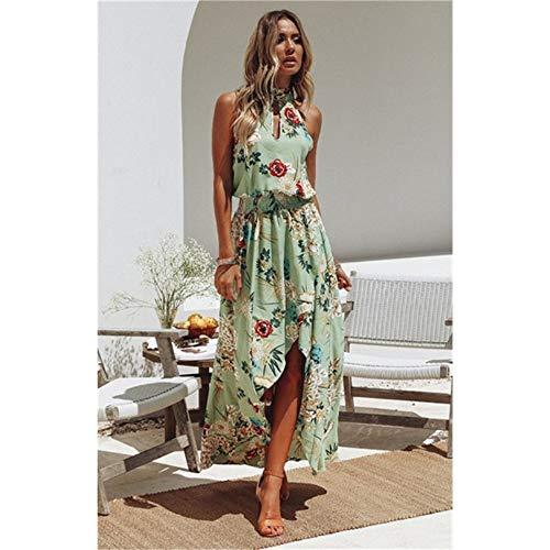 JJHR Kleider Maxi Party Kleid Frauen Neckholder Kreuz Zurück Wrap Hohe Slit Sommerkleider Elegant Club Lange Camis Beach Holiday Kleid, L -