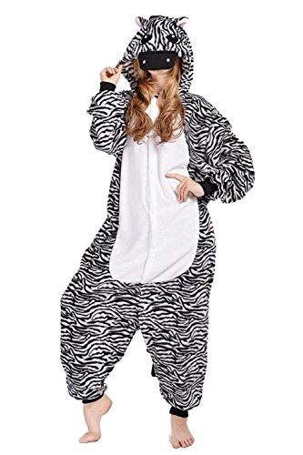 URVIP Erwachsene Unisex Jumpsuit Tier Cartoon Fasching Halloween Pyjama Kostüm Onesie Fleece-Overall Schlafanzug Zebra X-Large