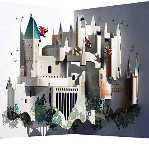 Forever Handmade Cards Pop Ups POP90 - Tarjeta tipo pop-up cortada con láser, diseño de Hogwarts
