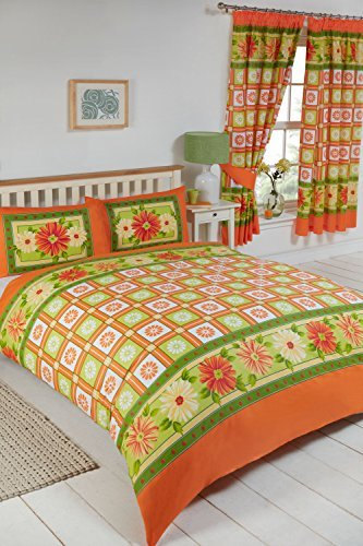 King Size Bed Daisy Check Citrus, Duvet / Quilt Cover Set, BY MY HOME, Floral Leaves Boxes, Orange Lemon Yellow Lime Green White