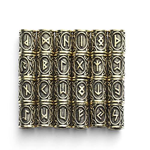 QZY 24 Stück Wikinger-Bart-Accessoires, 304 Edelstahl-Runen-Perlen Für Männer Halskette Pendant Armband Schmuck,Brass