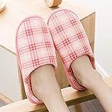 YSFU Hausschuhe Slipper Frauen Gitter Bottom Soft Home Hausschuhe Warme Baumwolle Schuhe Frauen Indoor Slip-On Schuhe Für Schlafzimmer Haus, 37.5