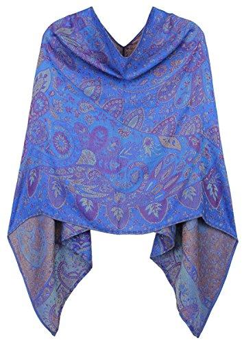 dy_mode Damen Poncho Cape Eleganter Leichter Poncho geblümt - WJ062 (WJ062-Naviblau)