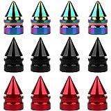 SENZEAL 12x Grenade Spike Dust Caps Aleación de aluminio Mixed Color Car Wheel Neumáticos Caps Rojo Negro Colorido
