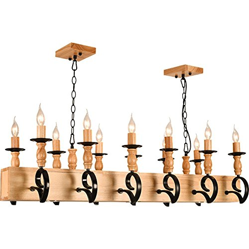 BJVB Legno coppia moderna Mobili di soffitto Piastra Coffin Lampadari di candela di legno (12) (Acciaio Per Scale Ferroviaria)