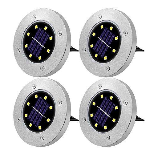 8 LED LED Solar Leuchte, MIHOMECO Warmweiß außen Garten Solarleuchte Bodenleuchte,IP65 wasserdicht und feuchtigkeitsdicht, intelligente Dämmerungsschalter. Das wird verwendet, um den Garten, Rasen, Gehweg zu schmücken