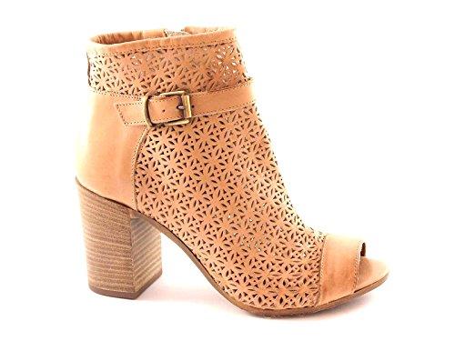 GRUNLAND GIò PO0536 cuoio scarpe donna stivaletti tronchetti zip punta aperta 37